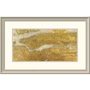 East Urban Home 'Gilded Map of Nyc' Framed Print; 20'' H x 32'' W x 1.5'' D