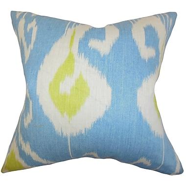 Latitude Run Burgoon Ikat Throw Pillow Cover; Blue