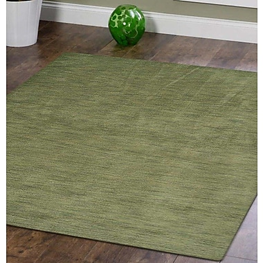 Latitude Run Delano Solid Hand Knotted Wool Green Area Rug; Square 8' x 8'
