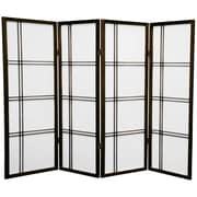 Mistana 48'' Boyeri Screen 4 Panel Room Divider; Walnut