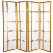 Mistana 60'' x 56'' Boyer 4 Panel Room Divider; Honey
