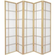 Mistana 70'' x 70'' Boyer 5 Panel Room Divider; Natural
