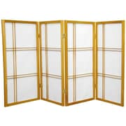 Mistana 35.75'' Boyer Screen 4 Panel Room Divider; Honey