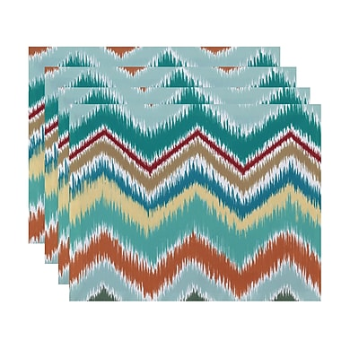 Ivy Bronx Massey Chevron Stripes Placemat (Set of 4); Green