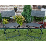 Ivy Bronx Maryanne Folding Resin Wicker Patio Chair (Set of 2); Antique White