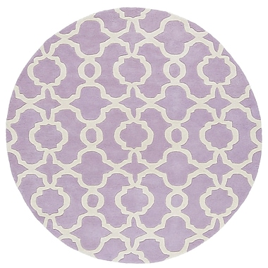 Ivy Bronx Molly Hand-Tufted Lilac / Ivory Area Rug; Round 7'9''