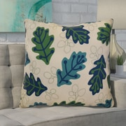 Ivy Bronx Avalos Retro Leaves Floral Euro Pillow; Blue
