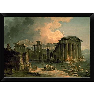 East Urban Home 'Ruins of a Doric Temple' Framed Oil Painting Print; 12'' H x 16'' W