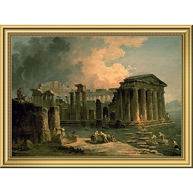East Urban Home 'Ruins of a Doric Temple' Framed Oil Painting Print; 14'' H x 18'' W
