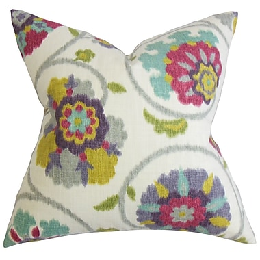 Red Barrel Studio Aspendale Floral Cotton Throw Pillow Cover; Red Green