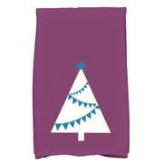 The Holiday Aisle Christmas Tree Cotton Hand Towel; Purple