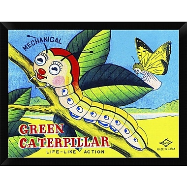 East Urban Home 'Mechanical Green Caterpillar' Framed Graphic Art Print; 12'' H x 16'' W