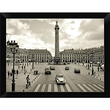 East Urban Home 'Place Vendome Paris' Framed Photographic Print; 9'' H x 12'' W