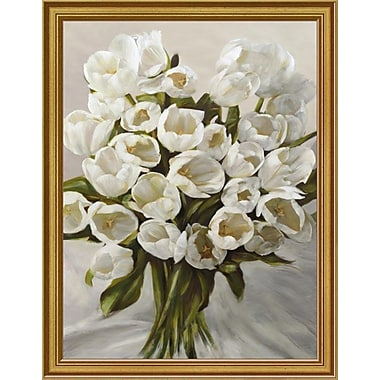 East Urban Home 'Bouquet Blanc' Framed Oil Painting Print; 12'' H x 9'' W