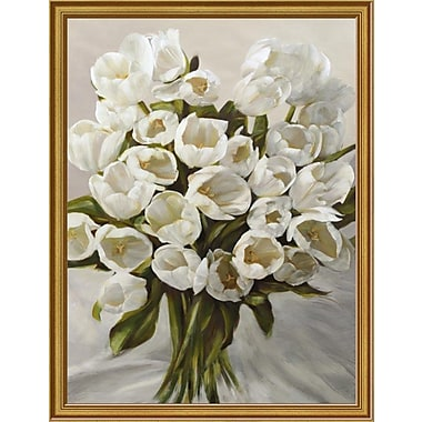 East Urban Home 'Bouquet Blanc' Framed Oil Painting Print; 16'' H x 12'' W