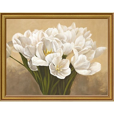 East Urban Home 'Tulipes Blanches' Framed Oil Painting Print; 9'' H x 12'' W