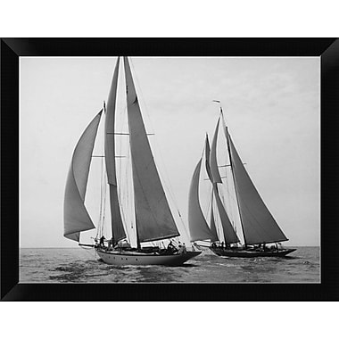 East Urban Home 'Sailboats Race during Yacht Club Cruise' Framed Photographic Print; 9'' H x 12'' W