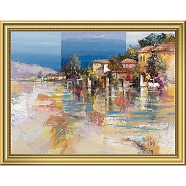 East Urban Home 'Paese sul lago' Framed Oil Painting Print; 14'' H x 18'' W