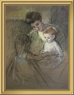 East Urban Home 'Sketch For Mother and Daughter Looking at the Baby 1905' Framed Oil Painting Print