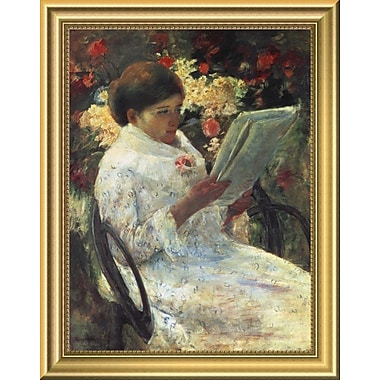 East Urban Home 'Woman Reading' Framed Oil Painting Print; 14'' H x 11'' W