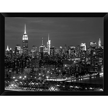 East Urban Home 'Midtown Manhattan at night' Framed Photographic Print; 12'' H x 16'' W
