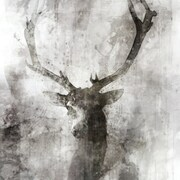 Union Rustic 'Deer' by Joshua Acrylic Painting Print on Wrapped Canvas in Black and White
