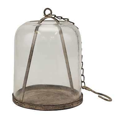 Williston Forge Weathered Metal Cloche w/ Chain Hook