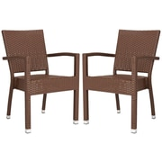 Bay Isle Home Key Vista Stacking Dining Arm Chair (Set of 2); Brown
