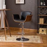 Corrigan Studio Johnathon Adjustable Height Swivel Barstool; Black