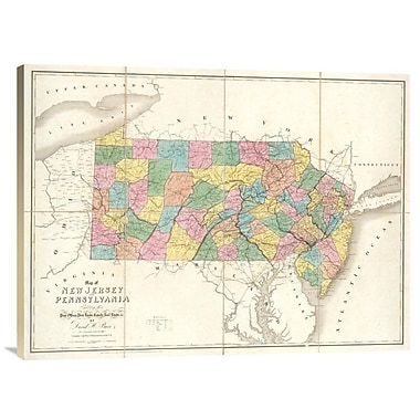 East Urban Home 'Map of New Jersey and Pennsylvania, 1839' Watercolor Painting Print on Canvas