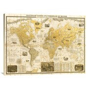 East Urban Home 'Gilded 1859 Map of the World' Watercolor Painting Print on Canvas