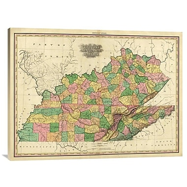 East Urban Home 'Kentucky, Tennessee and Part of Illinois, 1823' Watercolor Painting Print on Canvas