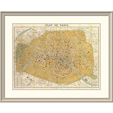 East Urban Home 'Gilded Map of Paris' Framed Print; 32'' H x 40'' W x 1.5'' D