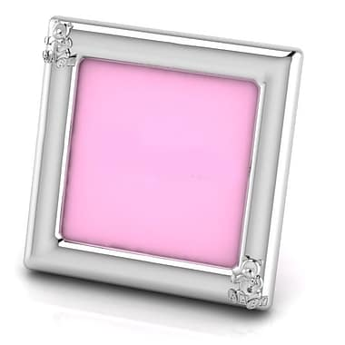 Harriet Bee Sterling Silver Teddy Square Picture Frame; Pink