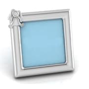 Harriet Bee Sterling Silver Rabbit Square Picture Frame; Blue