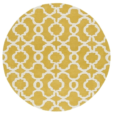 Ivy Bronx Molly Hand-Tufted Yellow / Ivory Area Rug; Round 11'9''