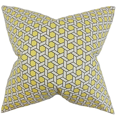 Latitude Run Burditt Geometric Cotton Throw Pillow Cover; Yellow