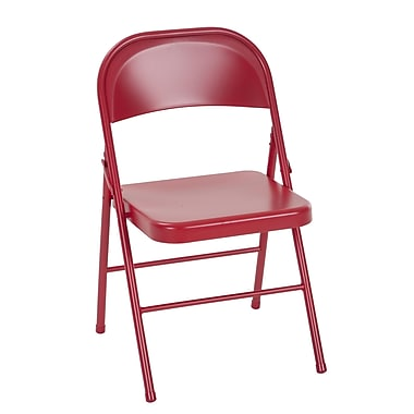 Cosco All Steel Folding Chair, Red, 2/Pack (14715RED2E)