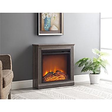 Ameriwood Bruxton Electric Fireplace, Medium Brown