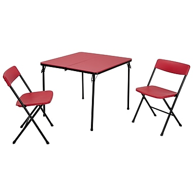 Cosco 3 Piece Indoor Outdoor Center Fold Table and 2 Chairs Tailgate Set, Red, Black Frame