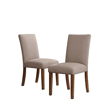 Dorel Living Linen Parsons Chairs, Taupe / Dark Pine, 2/Pack