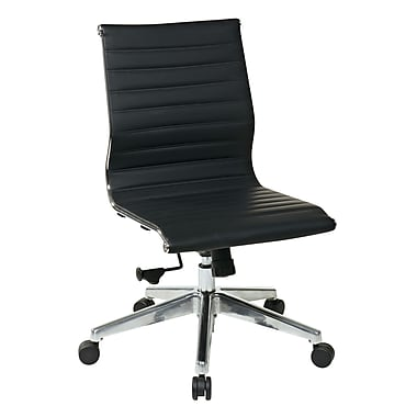 OSP Mid Back Leather Chair, Black (73631)