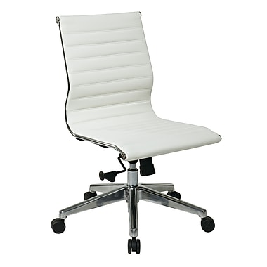 OSP Mid Back Leather Chair, White (73633)