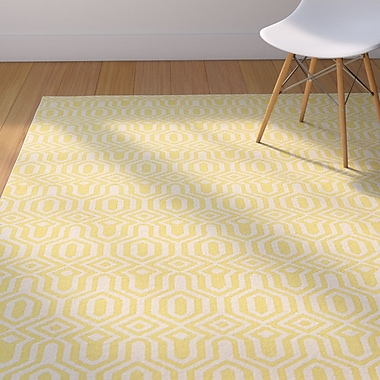 Winston Porter Kellie Yellow/Cream Area Rug; 8' x 10'