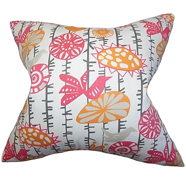 Red Barrel Studio Patterson Floral Cotton Throw Pillow Cover; Sherbet