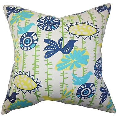 Red Barrel Studio Patterson Floral Cotton Throw Pillow Cover; Yellow Blue