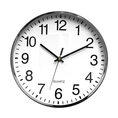 Symple Stuff 12'' Metal Wall Clock; Chrome