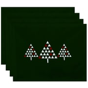 The Holiday Aisle Christmass Trio of Trees Geometric Print Placemat (Set of 4); Green