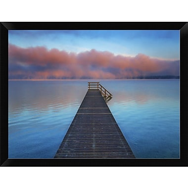 East Urban Home 'Boat Ramp and Fog Bench Bavaria Germany' Framed Oil Painting Print; 12'' H x 16'' W