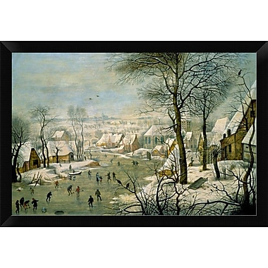 East Urban Home 'A Winter Landscape w/ Skaters and a Bird Trap' Framed Oil Painting Print